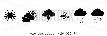 Set Of Vector Black Weather Icons. Weathers Icons. Weather Vector Icons. Weather Forecast Sign Symbo