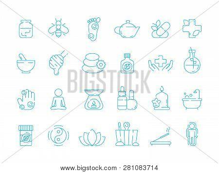 Alternative Medicine Symbols. Holistic Vitamin Herbal Care Traditional Naturopathy Vector Linear Ico