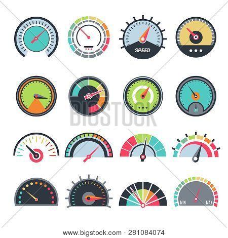 Level Measure Symbols. Speedometer Guage Indication Fuel Vector Infographic Symbols Collection. Spee