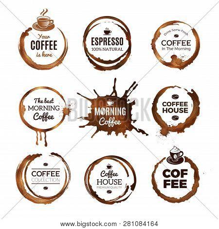 Coffee Rings Labels. Badges Design With Circles From Tea Or Coffee Espresso Mocha Cup Vector Templat