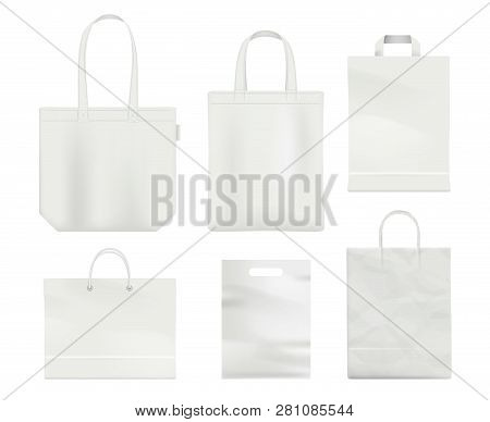 Paper Bag Mockup. Handle Blank Shopping Bag Empty Realistic White Vector Template. Bag With Handle,