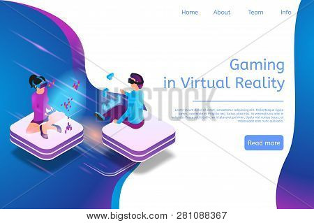 Isometric Banner Gaming In Virtual Reality In 3d. Illustration People Play Video Game Using Virtual