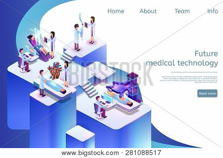Isometric Banner Future Medical Technology In 3d. Vector Illustration Group Doctor In Process. Denta