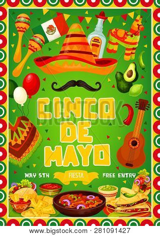 Mexican Cinco De Mayo Or 5th May Traditional Mexico Holiday Party Celebration. Vector Mexican Flag F