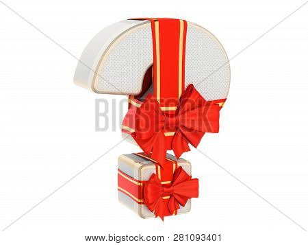Gift Box Shaped Of A Question Mark With Red Ribbon Bow. What To Gift? Present Question Concept, 3d R