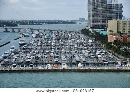 Busy Boat Marina In Miami Beach, South Florida