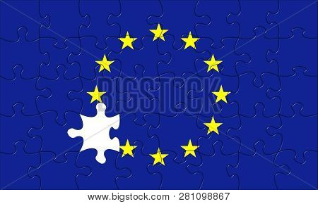European Union Puzzle Jigsaw Crisis Rectangular With Punched Out
