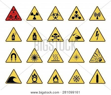Danger Sign. Set Of Triangular Warning Hazard Signs. Isolated On White Background. Vector