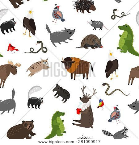 North America Animals Seamless Pattern. Vector Illustration. Wildlife Skunk And Buffalo, Mouse And P