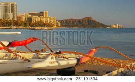 Waikiki, United States Of America - January 12 2015: Close Up Shot Of Outrigger Canoes With Waikiki