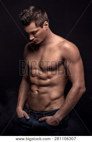 Handsome Shirtless Man In Studio.