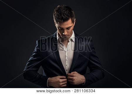 Handsome Young Elegant Man In Suit.