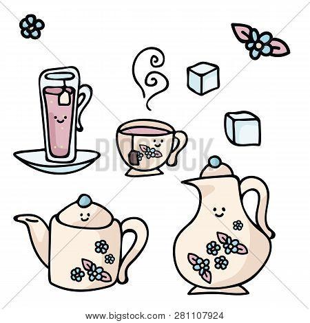 Kawaii Vector Cup Icon Set. Hand Drawn Illustration For Morning Beverage Designs. Herbal Leaf Drink