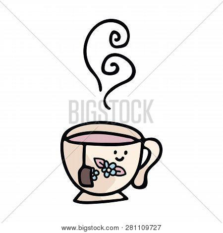Kawaii Teacup Cartoon Vector Illustration Motif Set. Hand Drawn Hot Drink Elements Clipart For Kitch