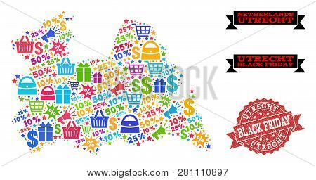 Black Friday Combination Of Mosaic Map Of Utrecht Province And Unclean Seal. Vector Red Watermark Wi
