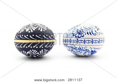 Two Blue Easter Eggs Isolated On White