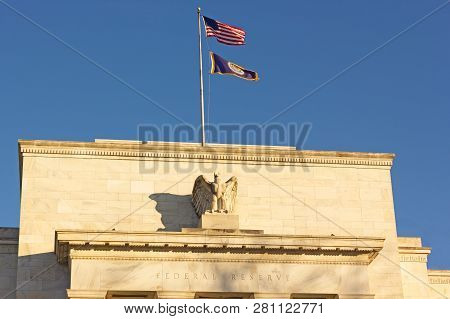 United States Federal Reserve Headquarters In Washington Dc, Usa. Eccles Building With Us National A