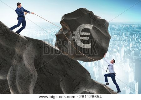 Trader trading in euro currency