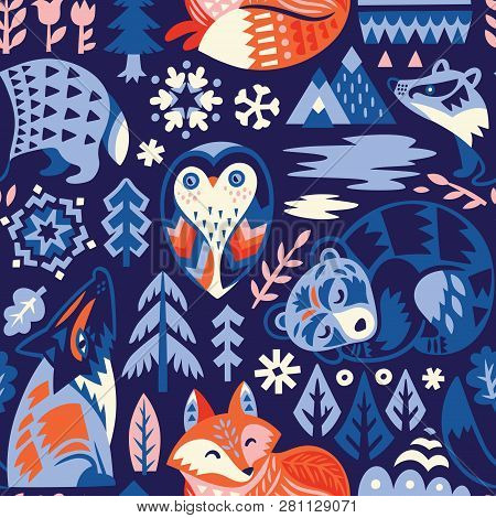 Seamless Woodland Pattern With Decorative Animals. Creative Scandinavian Style