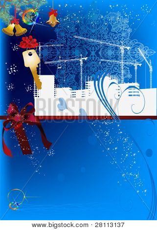 illustration with city building silhouette and snowflakes