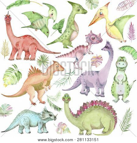 Set Of Cartoon Watercolor Dinosaurs. Cute Hand Drawn Funny Illustration Of Dinosaurs. Collection Per