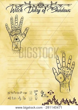 Witch Diary Page 12 Of 31 With Palm Hand Reading And Chiromancy Concept. Magic Wiccan Old Book With