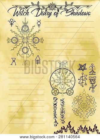 Witch Diary Page 25 Of 31 With Solar Sacred Geometry Symbols Of Sun And Mystic Signs. Magic Wiccan O