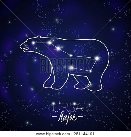 Great Bear Ursa Major Big Dipper Northern Sky Stars Constellation Pattern Poster Dark Blue Backgroun