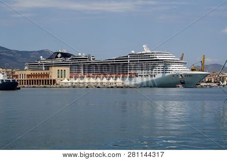 Palermo, Italy - June 18, 2018: The Cruise Ship Msc Divina Docked In Palermo Harbour On A Sunny Summ