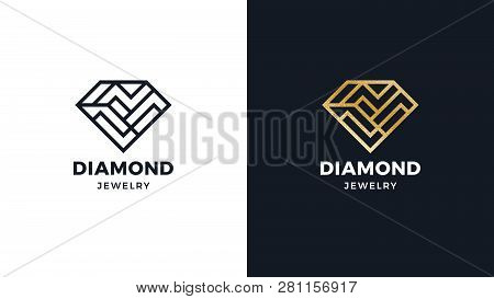 Diamond Logotype Template, Positive And Negative Variant, Corporate Identity For Brands, Exclusive P