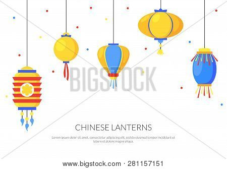 Colorful Background With Flat Paper Street Chinese Lanterns. Holiday Decorative Graphic Design Eleme