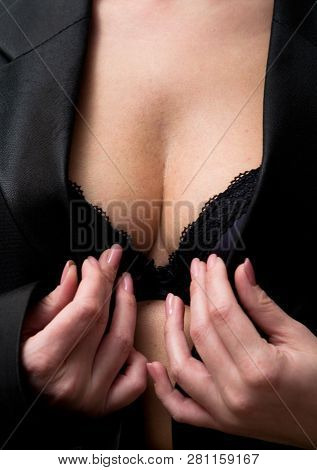 The Girl In The Black Jacket Wide Open. Lingerie Close-up.