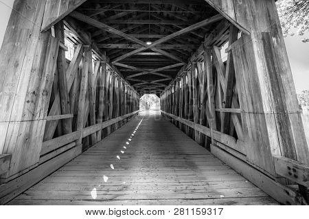 One Lane Bridge. Interior Of The Fallasburg Covered Bridge In Michigan. The Historic One Lane Wooden