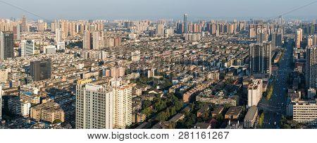 Chengdu, Sichuan Province, China - Nov 8, 2015: Chengdu Skyline Aerial View Panorama Against Blue Sk