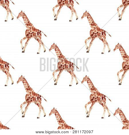 Seamless Pattern With Watercolor Image Of Giraffe. Good Design For Wrapping Paper, Textile, Scrap Bo