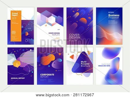 Set Of Brochure, Annual Report, Flyer Design Templates In A4 Size. Vector Illustrations For Business