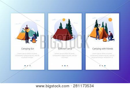Camp Hiking Lifestyle Concept For Website Or Web Page, Onboard Screen Set. Nature Forest Camping At