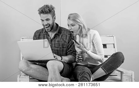 Modern Occupation. Shocking Content. Man Girl Create Content Blog Social Network. Couple Surfing Int