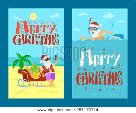 Merry Christmas, Santa Claus And Sleigh Full Of Bananas And Grapes, Palm Tree. Vector New Year Chara