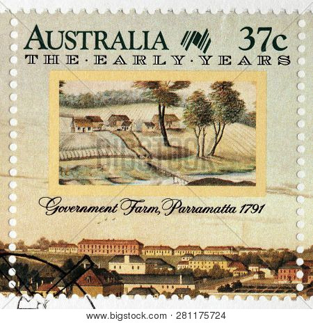 Luga, Russia - January 24, 2019:  A Stamp Printed By Australia Shows Beautiful View Of Government Fa