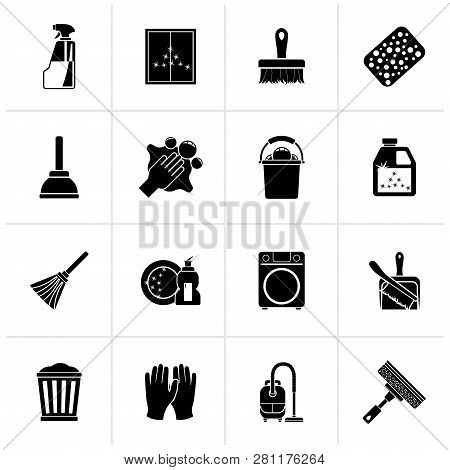 Black Cleaning And Hygiene Icons  - Vector Icon Set