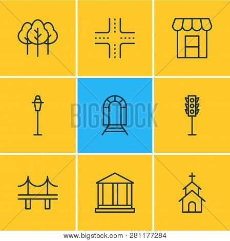 Vector Illustration Of 9 Urban Icons Line Style. Editable Set Of Academy, Streetlight, Storefront An