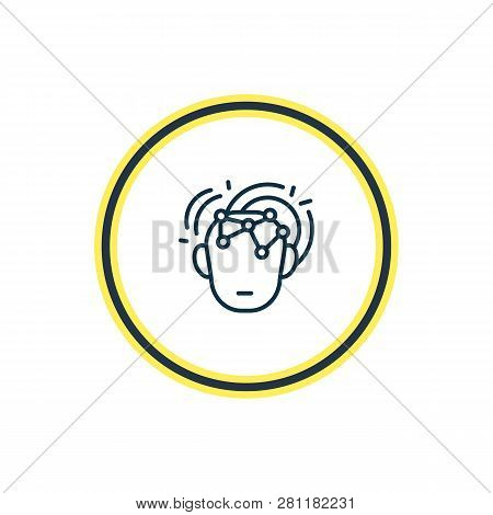 Illustration Of Intelligence Icon Line. Beautiful Emotions Element Also Can Be Used As Intelligent I