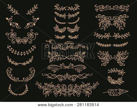 Flourish Vector Text Dividers Set. Golden Floral Vintage Embellishments, Wreaths.