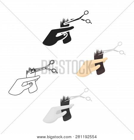 Hair Cutting Icon In Cartoon Style Isolated On White Background. Hairdressery Symbol Stock Vector Il