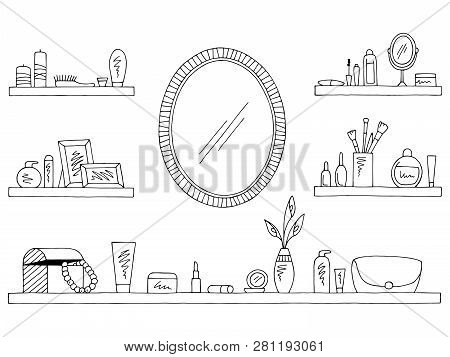 Shelves Set Graphic Black White Isolated Sketch Cosmetics Illustration Vector