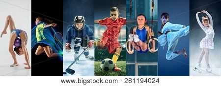 Attack. Sport Collage About Teen Or Child Athletes Or Players. The Soccer Football, Badminton, Ice H