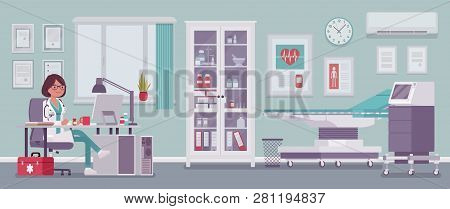 Female Doctor In General Practitioner Office Interior. Hospital Examination Room With Medical Facili