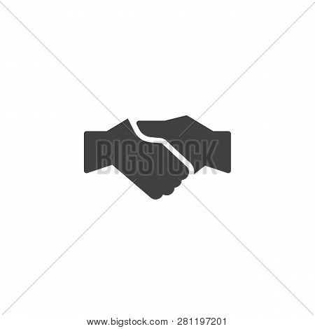 Business Handshake Vector Icon. Filled Flat Sign For Mobile Concept And Web Design. Agreement Handsh