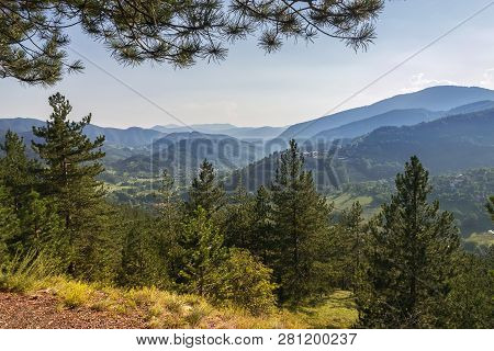 Mountain Range Nature Landscape. Mountain Layers Landscape. Summer In Mountain Forest Landscape. For